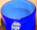 Кувшин-ваза толстое стекло кобальт, фото №6
