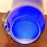 Кувшин-ваза толстое стекло кобальт, фото №7