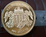 100 крон 1908 року Австро-Угорщина -репліка /-копія , поЗОЛОТА 999/ , магнітна, дзвенить, фото №2