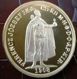 100 крон 1908 року Австро-Угорщина -репліка /-копія , поЗОЛОТА 999/ , магнітна, дзвенить, фото №5