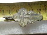 Крест большой , листик с остатками эмали, фото №5
