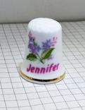 Наперсток, Костяной фарфор с именем Jennifer. 7,77 грамм. Norwich England., фото №2