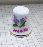 Наперсток, Костяной фарфор с именем Jennifer. 7,77 грамм. Norwich England., фото №6