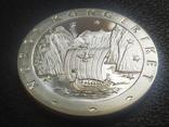Норвегия 1 Экю Древние Корабли Европы Корабль Викингов Флот парусник серебро, фото №2