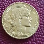Франция, 20 франков 1910г., золото 6,45 грамм, фото №2