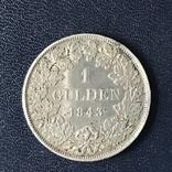 Гульден 1843 р. Вюртемберг, фото №3
