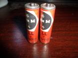 2 шт  батарейки Уран М  R6 Gell  год выпуска 02.1986  made in USSR  --внимание РАБОЧИЕ, фото №3