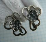 Серебряные Серьги Сережки Сердце Бабочки Камни Английская Застежка 925 проба Серебро 092