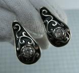 Серебряные Серьги Сережки Черная Эмаль Камни Английская Застежка 925 проба Серебро 088