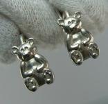 Серебряные Серьги Сережки Детский Мишки Английская Застежка 925 проба Серебро 084