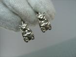 Серебряные Серьги Сережки Детский Мишки Английская Застежка 925 проба Серебро 084 фото 8