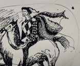 "Одесса,А.Бокатов""Без названия"",б.тушь,8,8х10,7см,1981г.подпись, фото №5"