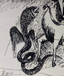 "Одесса,А.Бокатов""Без названия"",б.тушь,8,8х10,7см,1981г.подпись, фото №6"