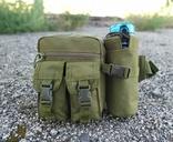 Универсальная тактическая сумка на пояс с карманом под бутылку (Олива), фото №3