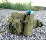 Универсальная тактическая сумка на пояс с карманом под бутылку (Олива), фото №2