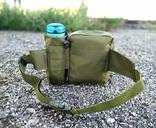 Универсальная тактическая сумка на пояс с карманом под бутылку (Олива), фото №4