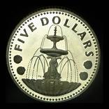 Барбадос 5 долларов 1974 пруф серебро 31.1 грамм, фото №3