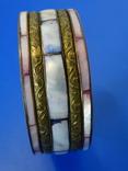 Винтажный браслет-обруч. Латунь, перламутр., фото №7
