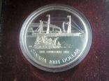Канада 1 доллар 1991 г. Серебро. Фронтенак. Корабль., фото №9