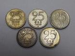 5 монет по 25 оре, Швеция, фото №2