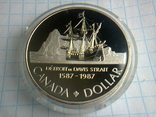 1 доллар, Канада, 1987 г., 400 лет открытию пролива Дейвиса, серебро, 0.500, 23.33 гр., фото №5