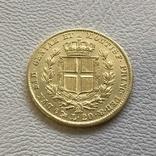 Италия 20 лир 1849 год Сардиния 6,45 грамм золота 900, фото №3