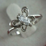 Серебряное Кольцо Бабочка Камень Маркиза Фианит Размер 16.25 Серебро 925 проба 680