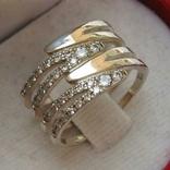 Серебряное Кольцо Широкое Камни Фианиты Размер 17.25 Серебро 925 проба 556