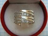 Серебряное Кольцо Широкое Камни Фианиты Размер 17.25 Серебро 925 проба 556 фото 2