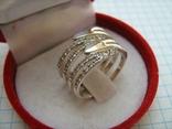 Серебряное Кольцо Широкое Камни Фианиты Размер 17.25 Серебро 925 проба 556 фото 3