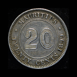 Британский Маврикий 20 центов 1899 серебро, фото №2