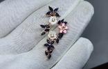 Серебряная подвеска с природными сапфирами,перламутром,мали и позолота, фото №2