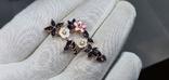 Серебряная подвеска с природными сапфирами,перламутром,мали и позолота, фото №3