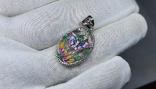 Серебряная подвеска с природными изумрудами,эмали и позолота, фото №2