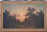 Картина закат солнца. Репродукция на картони 1971 год., фото №2