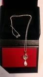 Серебряный кулон с серебряной цепочкой в кулоне камень фианит, фото №3