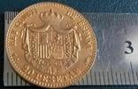 20 песет /золотий/1889 року Іспанія копія не магнітна / позолота 999/, фото №3