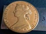 1 цент 1861 року Нова Скотія /ШОТЛАНДІЯ/ /копія-  позолота 999, фото №3