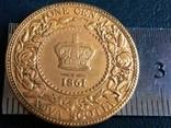 1 цент 1861 року Нова Скотія /ШОТЛАНДІЯ/ /копія-  позолота 999, фото №2