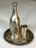 Серебро 84. Пляшка з стопкою на блюдечку., фото №2