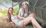 Картина, Сільські дівчата, 100х60 см. Живопис на полотні, фото №2