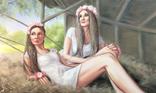 Картина, Сільські дівчата, 100х60 см. Живопис на полотні, фото №3