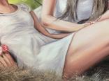 Картина, Сільські дівчата, 100х60 см. Живопис на полотні, фото №7