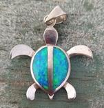 Черепашка с эмалью, серебро 925, Гавайи., фото №4