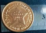 4 долара золотом 1879  року  CША /репліка/ копія позолота  999.  не магнітна, дзвенить, фото №2