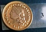 4 долара золотом 1879  року  CША /репліка/ копія позолота  999.  не магнітна, дзвенить, фото №3