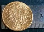 20 МАРОК 1913 року F Вюртенберг/НІМЕЧЧИНА / копія , не магнітна , позолота 999, фото №3
