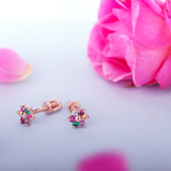Золотые серьги гвоздики с цирконием в виде цветочка, фото №2