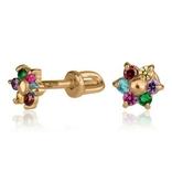 Золотые серьги гвоздики с цирконием в виде цветочка, фото №3