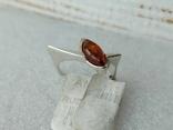 Серебряное кольцо 925 пробы с янтарем